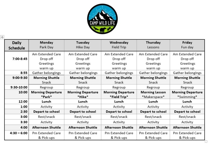 Camp Daily Schedule