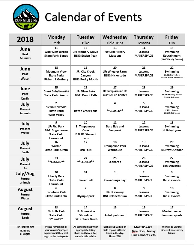 Camp Calendar of Events 2018