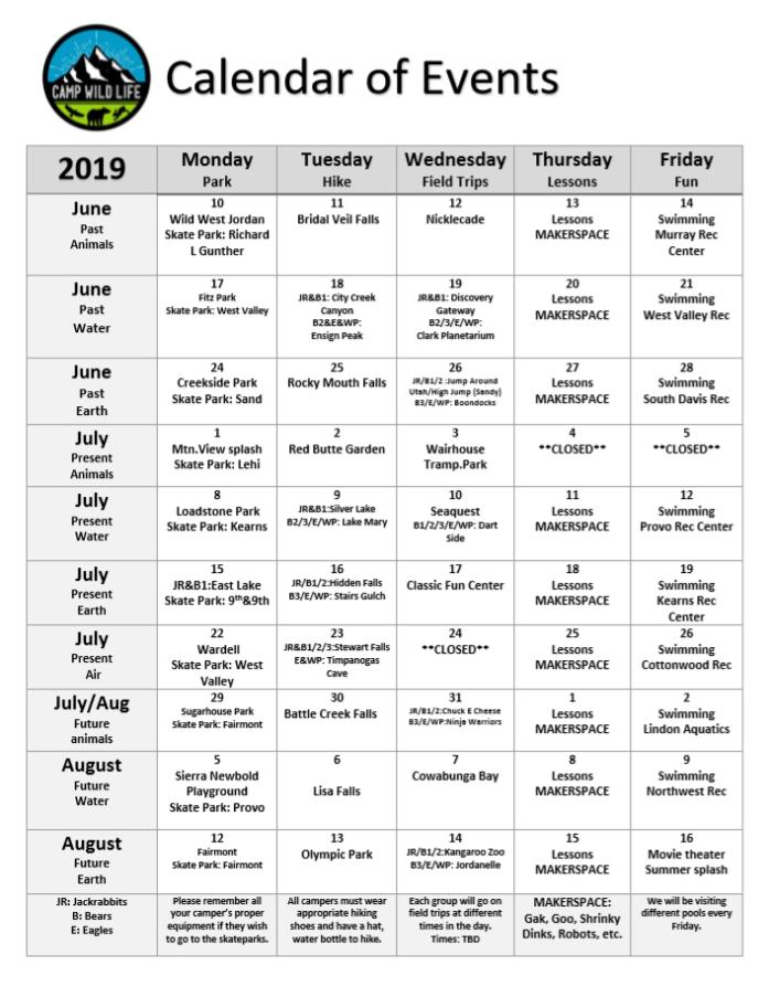 Summer Camp Calendar